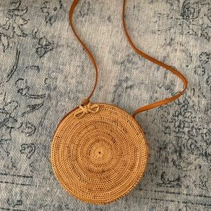 Nordstrom Circle Straw Rattan Bag w Leather Strap